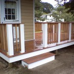 Composite and natural red cedar deck in Seekonk, Ma
