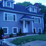 Granite Gray certainteed siding ,Certainteed roof and front entry way in Attleboro, Ma
