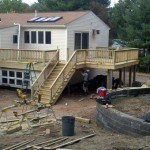 Pressure treated deck and flat roof deck in Franlin , Ma