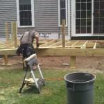 Pressure treated deck frame work